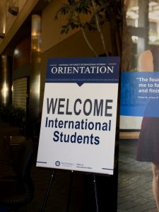 Welcome sign at student orientation